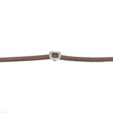 Coulissant COEUR TRAVERSE - Lanière de 5 mm - ARGENT VIEILLI