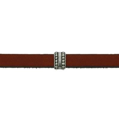 Coulissant ETHNIQUE FIN - Lanière de 10 mm - ARGENT VIEILLI