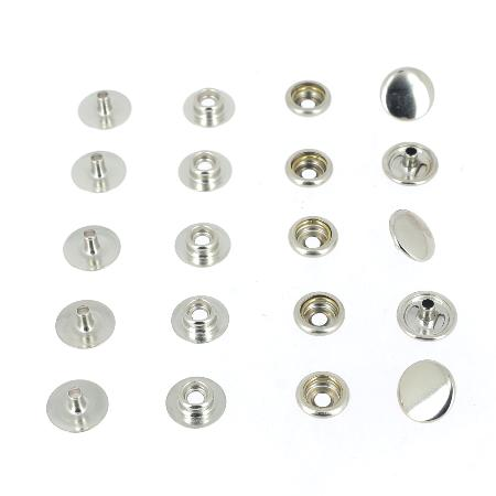 Lot de 5 boutons pression FORT en INOX - OSBORNE - LINE 20 : 12,5 mm