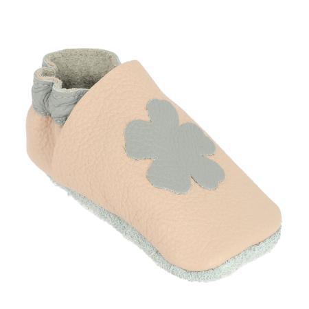Kit chaussons en cuir pour bébé - Rose pastel / Gris souris / Fleur