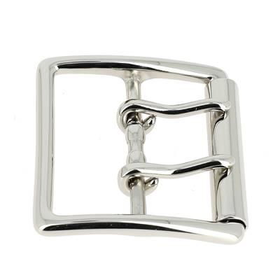 Boucle de ceinture double ardillon RYU - NICKELE - 50 mm