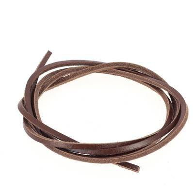 Lacet en cuir carré - largeur 2.8 mm - Marron