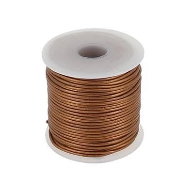 Lacet en cuir rond - diam 1 mm - BRONZE