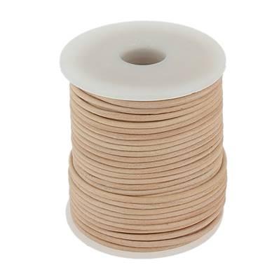 Lacet en cuir rond - diam 2 mm - NATUREL