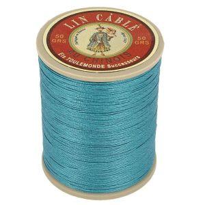 Bobine fil de lin au chinois câblé glacé - 332 - BLEU CANARD 863