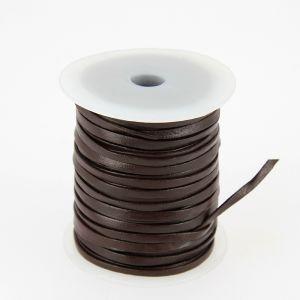 Lacet en cuir plat - largeur 3 mm - CHOCOLAT