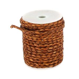 Lacet en cuir rond tressé - diamètre 3 mm - TAN