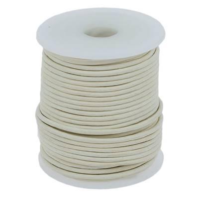 Lacet en cuir rond - diam 3 mm - BLANC