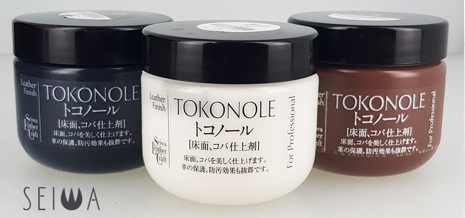 Utilisation du tokonole : gomme de finition pour cuir