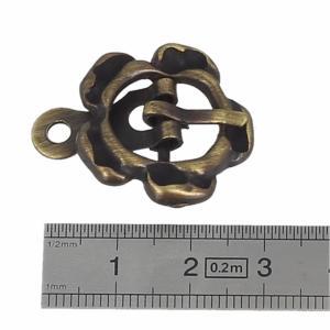 Boucle à ardillon avec chape FLEUR - LAITON VIEILLI - 12 mm