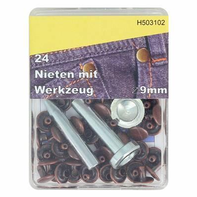 Kit 24 rivets DOUBLE CALOTTE (T4) et outils de pose - 9 mm - VIEUX CUIVRE