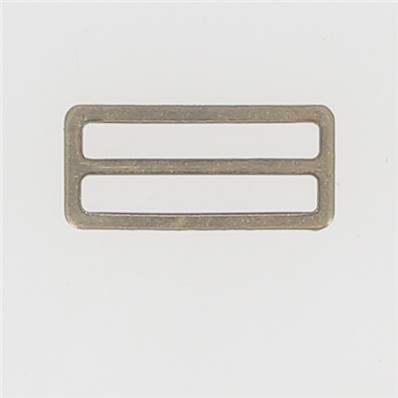 Passant double rectangulaire et plat - Laiton Vieilli - 35 mm