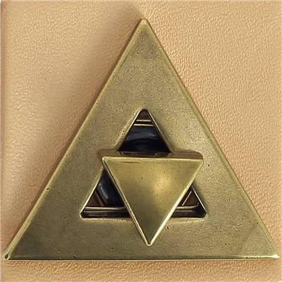 Fermoir tourniquet triangle pour sac - LAITON VIEILLI - 40x40 mm