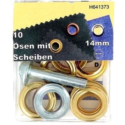 Kit Oeillets à rouler et outil de pose - 14 mm - DORE
