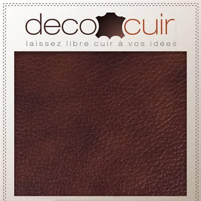 Morceau de cuir d'ameublement - MARRON marbré - 20x30 cm - Ép 0,5 mm