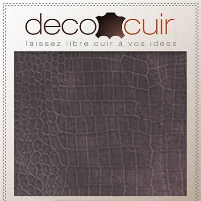 Morceau de cuir de vachette imitation croco - VIOLET - 30x40 cm - Ép 1,7 mm