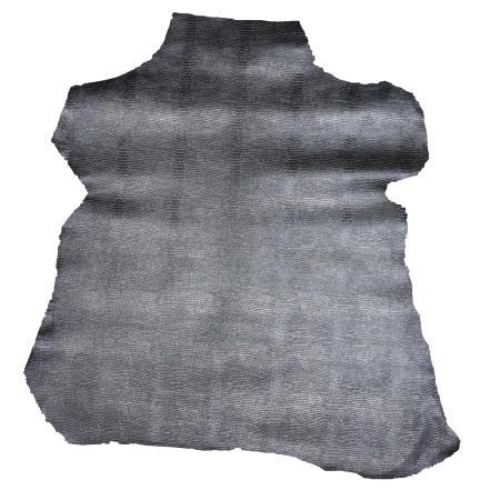 Peau de cuir de chèvre imitation iguane - NOIR Argenté C50