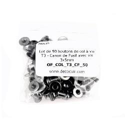 Lot de 50 boutons de col à vis T3 - Canon de Fusil avec vis 3x5mm