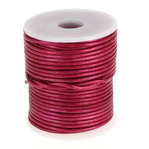 Lacet en cuir rond - diam 2 mm - ROSE FUCHSIA METALLIQUE