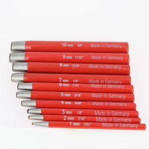 Lot de 10 emporte-pièces à frapper ROND manche DROIT - diam de 1 à 10 mm
