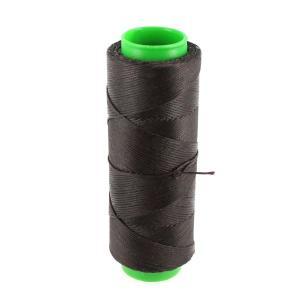 Bobine de fil polyester tressé et ciré - 100 mètres - diam 1 mm - CHOCOLAT