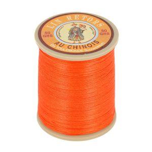 Bobine fil de lin au chinois retors extra glacé n°24 - ORANGE TANGO 380