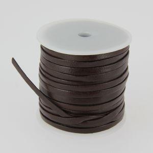 Lacet en cuir plat - largeur 4 mm - CHOCOLAT