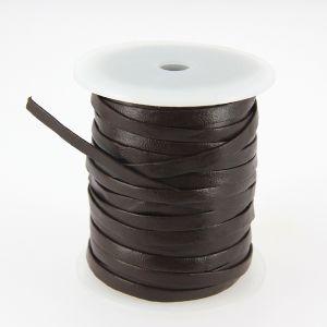 Lacet en cuir plat - largeur 5 mm - CHOCOLAT - Bobine de 25 mètres