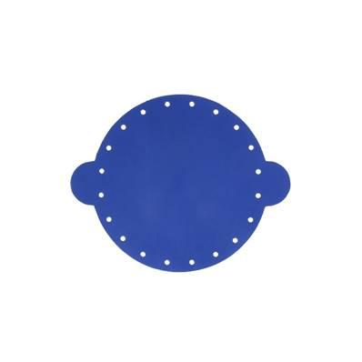 Cuir déja coupé pour faire une bourse en cuir BLEU - Diamètre 14,5 cm