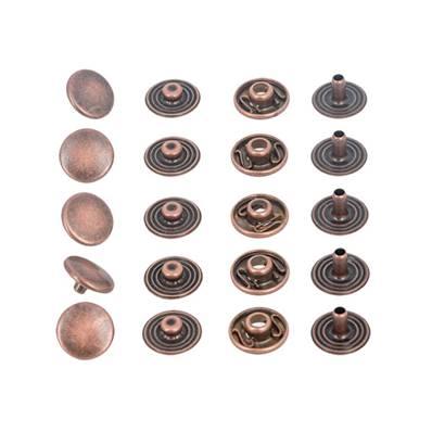 Lot de 5 boutons pression en laiton finition VIEUX CUIVRE - diamètre 12 mm