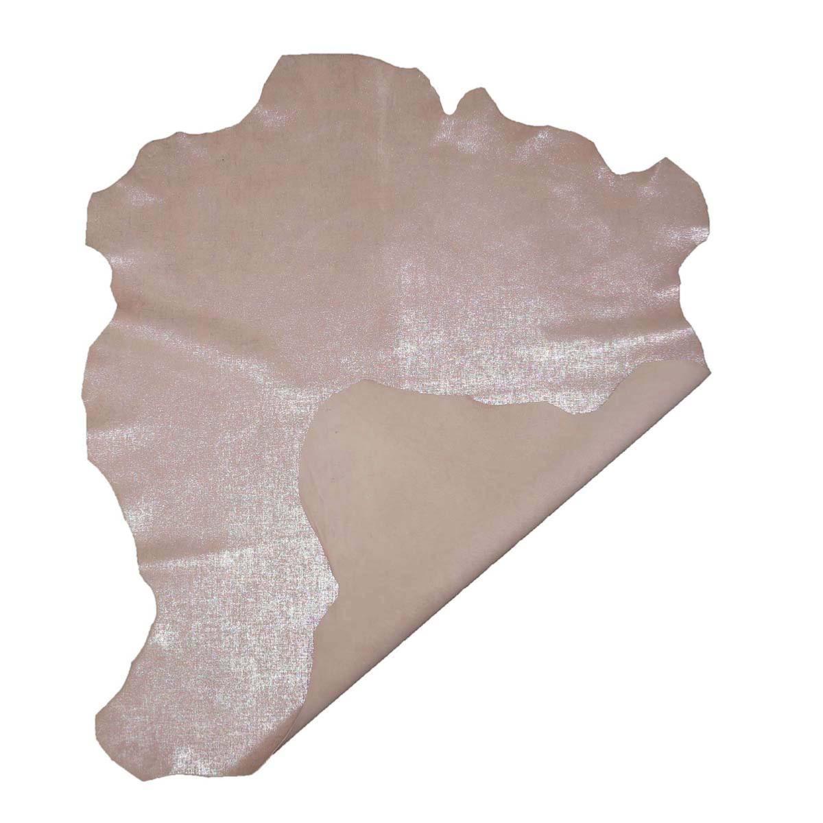 Peau de cuir de chèvre velours effet nacré - ROSE PÂLE C57