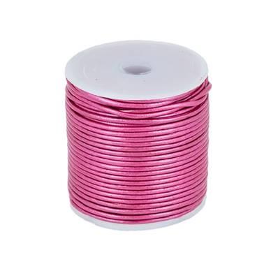 Lacet en cuir rond - diam 1,5 mm - ROSE FUCHSIA METALLIQUE