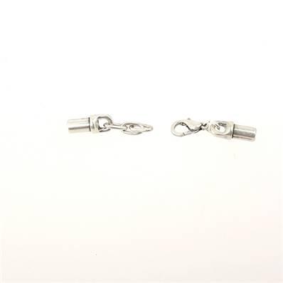 Fermoir bijou - Fermeture mini mousqueton - Argent vieilli - Lacet rond 3 mm