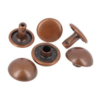 Lot de 100 rivets double calotte BOMBES - 7 mm - VIEUX CUIVRE