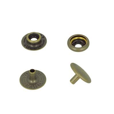 Lot de 10 boutons pression FORT en acier - LAITON VIEILLI - TANDY LEATHER - LINE 24 : 15 mm