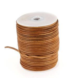 Lacet en cuir rond teinté - diam 2 mm - TAN