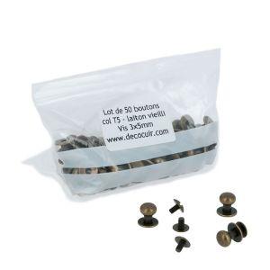 Lot de 50 boutons de col à vis T5 - Laiton vieilli avec vis 3x5mm