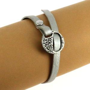 Fermoir bracelet - Argent vieilli - Lacet plat 5 mm