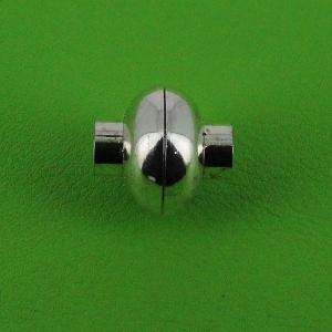 Fermoir bijou - Boule aimantée - Nickelé - Lacet en cuir 5 mm