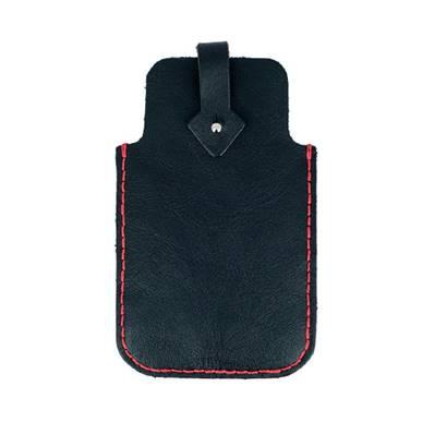 KitenCuir pochette Smartphone Noir - Fil rouge