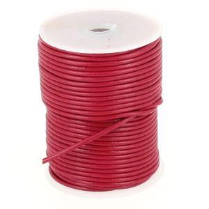 Lacet en cuir rond - diam 2 mm - ROSE FUCHSIA