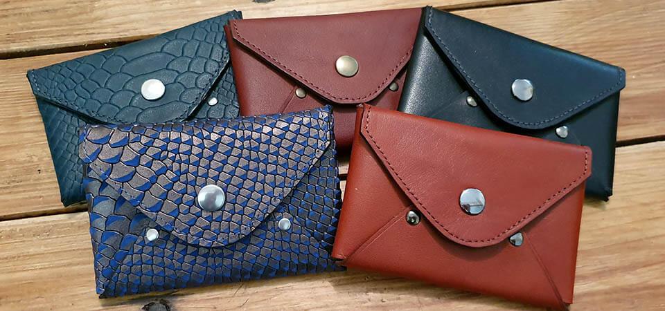 Porte-monnaie porte-cartes en cuir