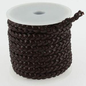 Lacet en cuir plat tressé - largeur 5 mm - CHOCOLAT