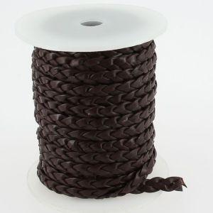 Lacet en cuir plat tressé - largeur 6 mm - CHOCOLAT