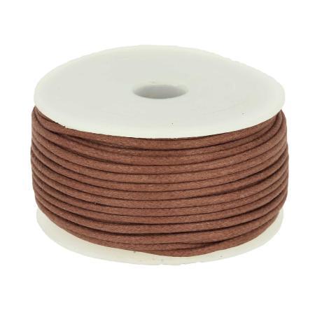 Bobine 25 m lacet coton tressé ciré 2 mm - MARRON