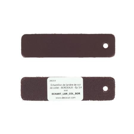 Échantillon de lanière de cuir de collet - BORDEAUX - Ép 3,4 mm