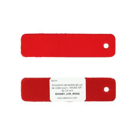 Échantillon de lanière de cuir de collet nourri - ROUGE VIF - Ép 3,4 mm
