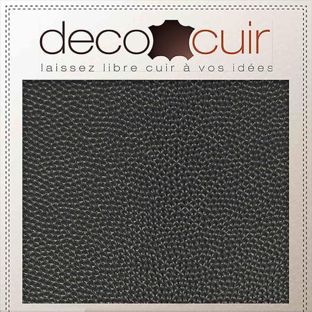 Morceau de cuir de veau petit grain caviar- NOIR SATINÉ B88 - 15x20 cm - Ép 1,2 mm