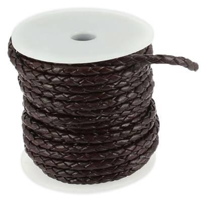 Lacet en cuir rond tressé - diamètre 3 mm - CHOCOLAT