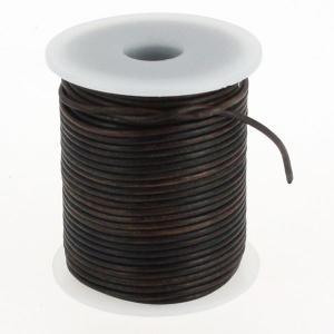 Lacet en cuir rond teinté - diam 2 mm - CHOCOLAT